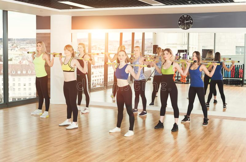 Group of young women in the fitness class stock photo