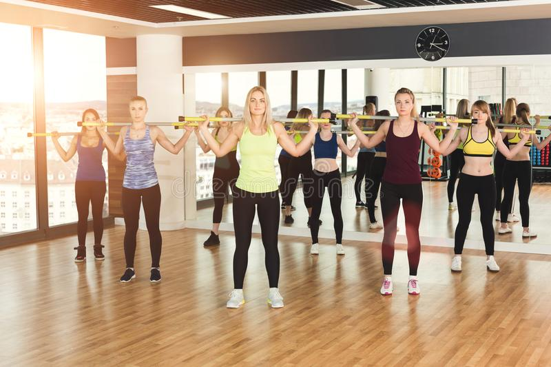 Group of young women in the fitness class royalty free stock photo