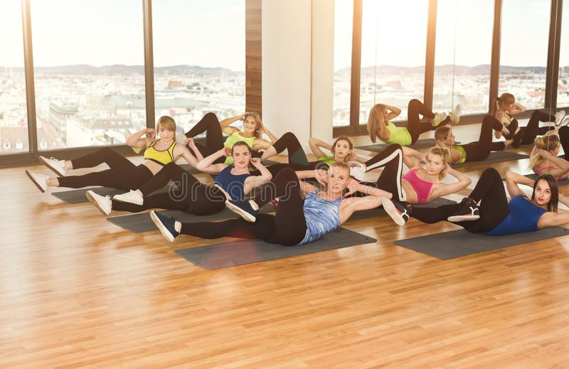 Group of young women in the fitness club royalty free stock photography