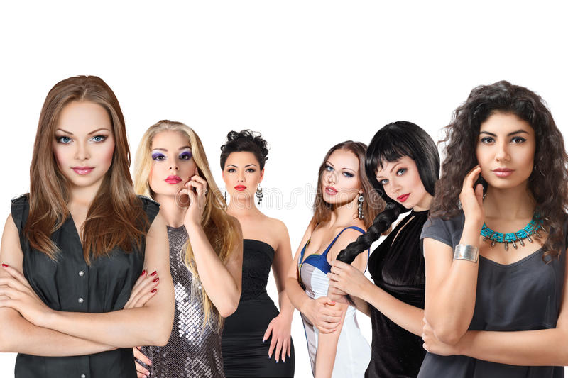 Group of young women isolated stock image