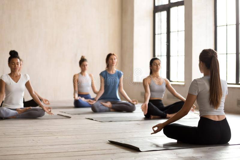 Group of young women sitting in lotus position meditate stock photography