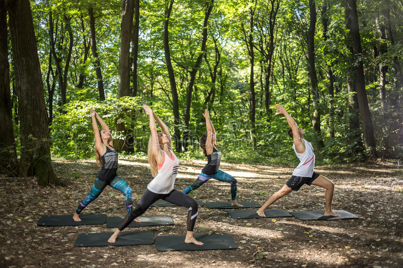 Group youngsters doing body balance in nature. Group flexible athletes doing body balance in beautiful nature royalty free stock images