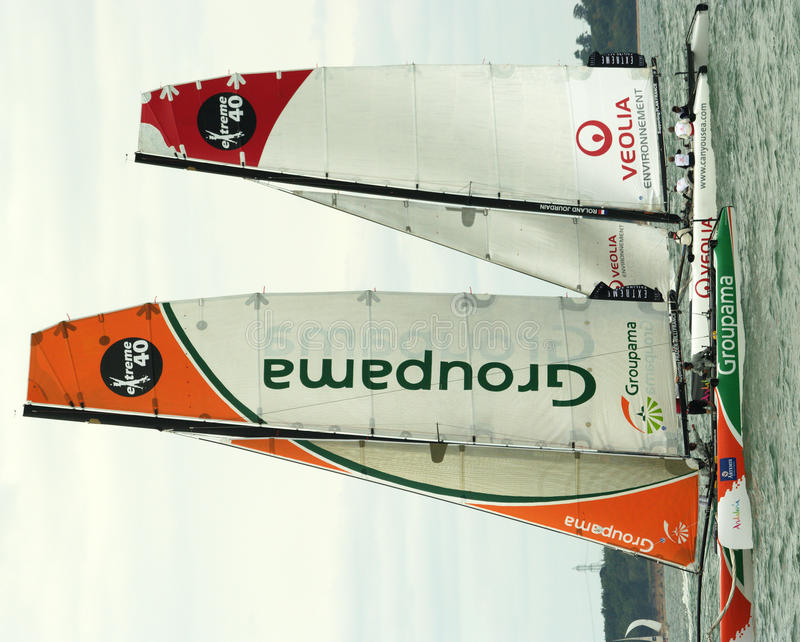 Free Groupama And Veolia Catamarans At Cowes Week 3 Royalty Free Stock Images - 18545259