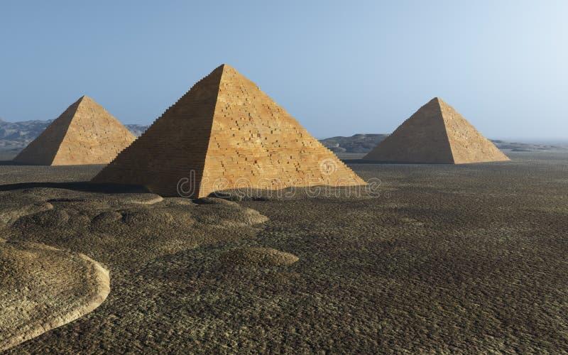 Groupe égyptien de pyramide illustration libre de droits