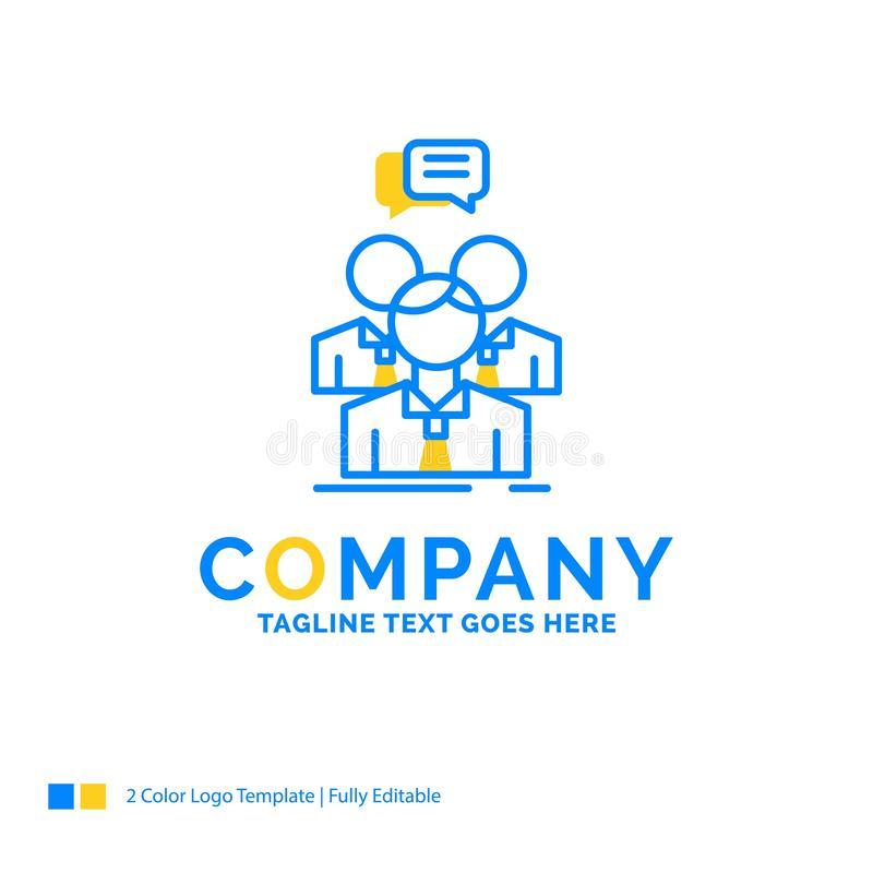 groupe, affaires, réunion, les gens, logo jaune bleu d'affaires d'équipe illustration stock