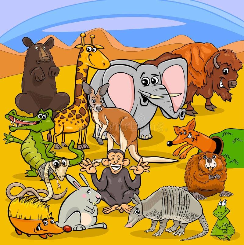 Groupe animal de caractères de bande dessinée illustration libre de droits
