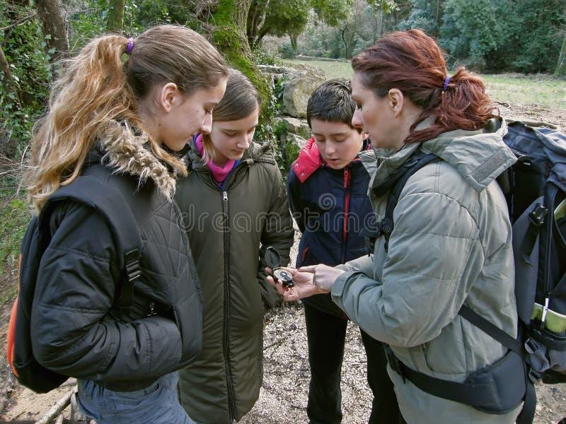 Groupe avec le compas en nature