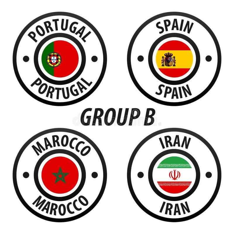 Groupe B de championnat du monde du football Tournoi 2018 du monde du football en Russie blanc de vecteur d'isolement par indicat illustration de vecteur