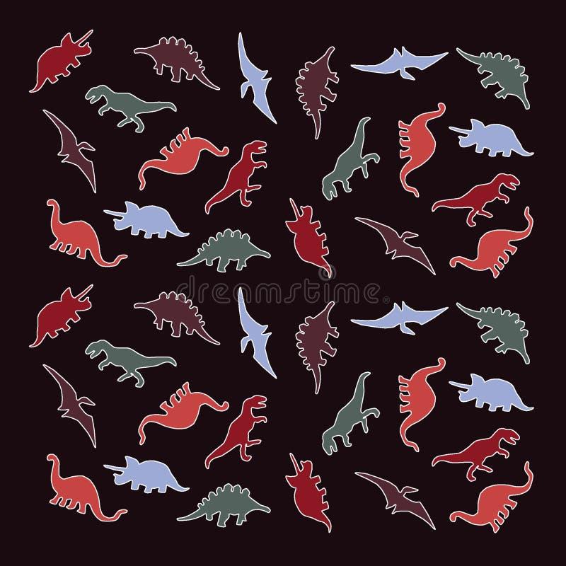 Groupe coloré de dinosaures, silhouettes de dinosaure illustration libre de droits
