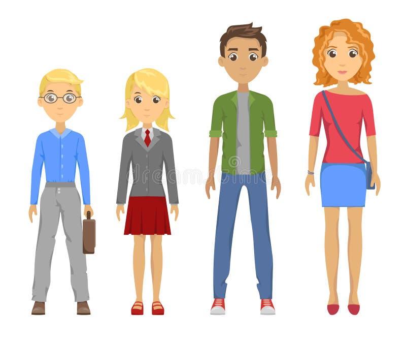 Groupe d'élèves de différentes courses illustration de vecteur
