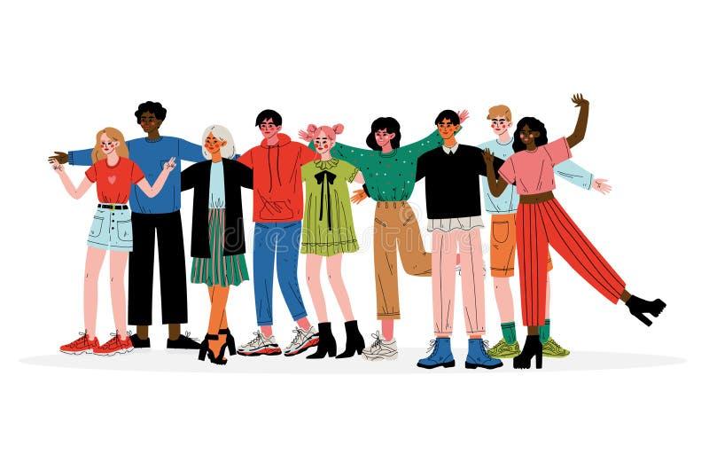 Groupe d'étreindre des jeunes, mâle et amis féminins de différentes nationalités tenant ensemble l'illustration de vecteur illustration de vecteur