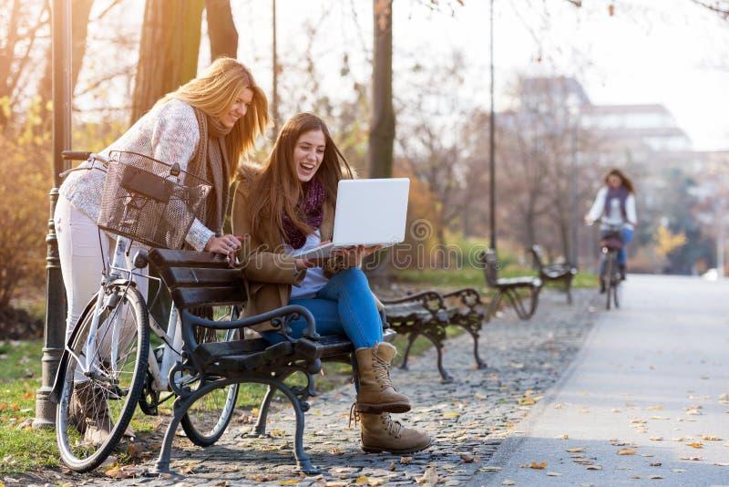 Groupe d'étudiantes de sourire sur le banc de parc travaillant sur l'ordinateur portable photos libres de droits