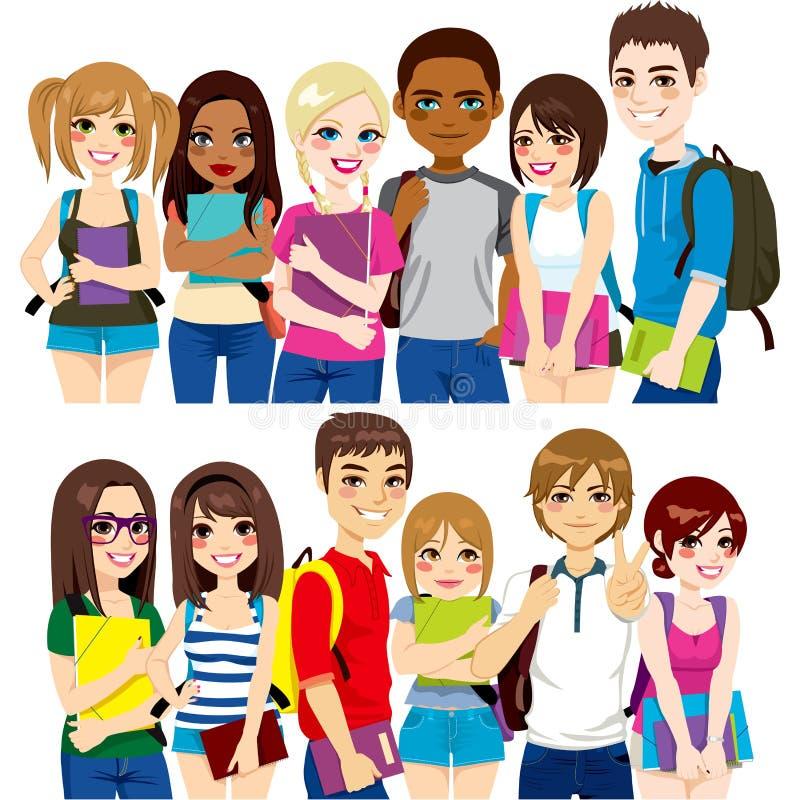 Groupe d'étudiants illustration de vecteur