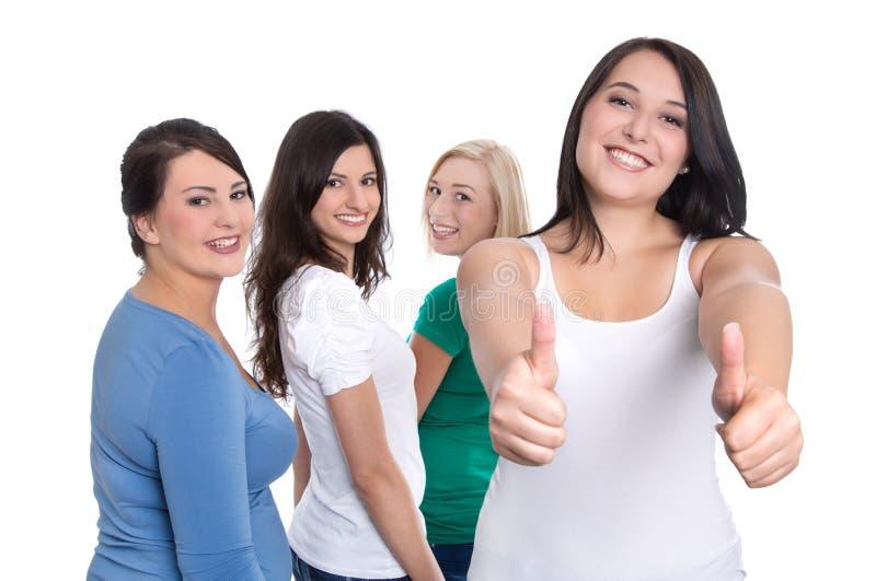 Groupe d'étudiants heureux d'isolement sur le fond blanc - juste fille photos libres de droits