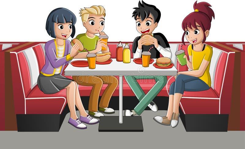 Groupe d'adolescents de bande dessinée mangeant de la nourriture industrielle à la table illustration libre de droits