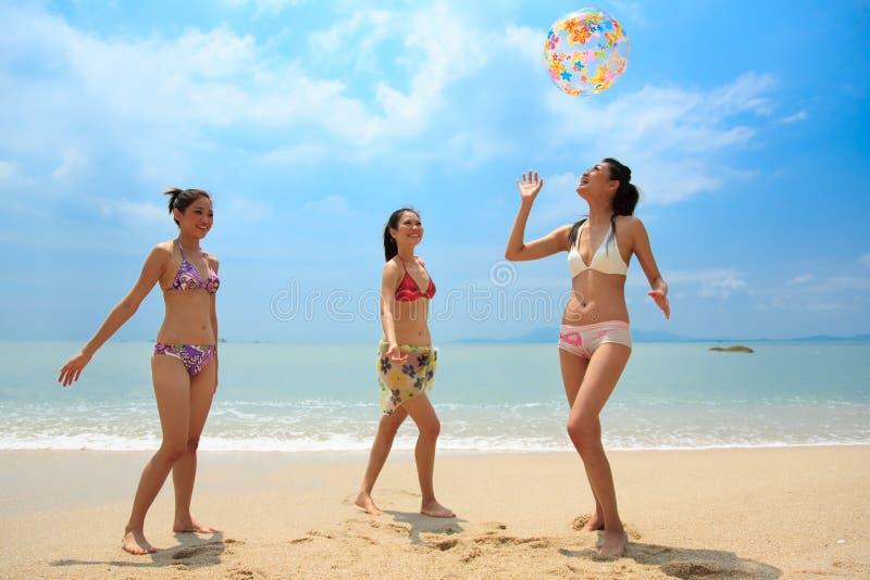 Groupe d'amis ayant l'amusement à la plage images libres de droits