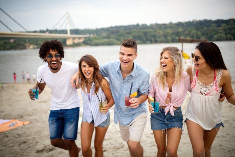 Groupe d'amis ayant l'amusement à la plage un jour ensoleillé image stock
