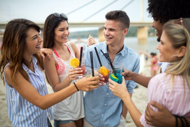 Groupe d'amis ayant l'amusement ? la plage un jour ensoleill? image stock