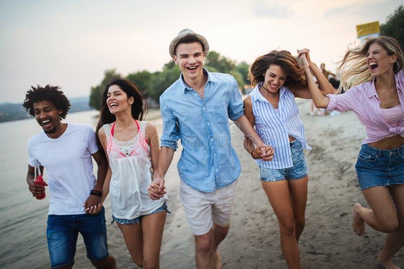 Groupe d'amis ayant l'amusement ? la plage un jour ensoleill? image libre de droits