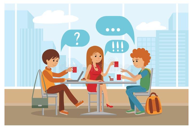 Groupe d'amis en café - dirigez l'illustration avec le paysage de ville sur la fenêtre illustration libre de droits