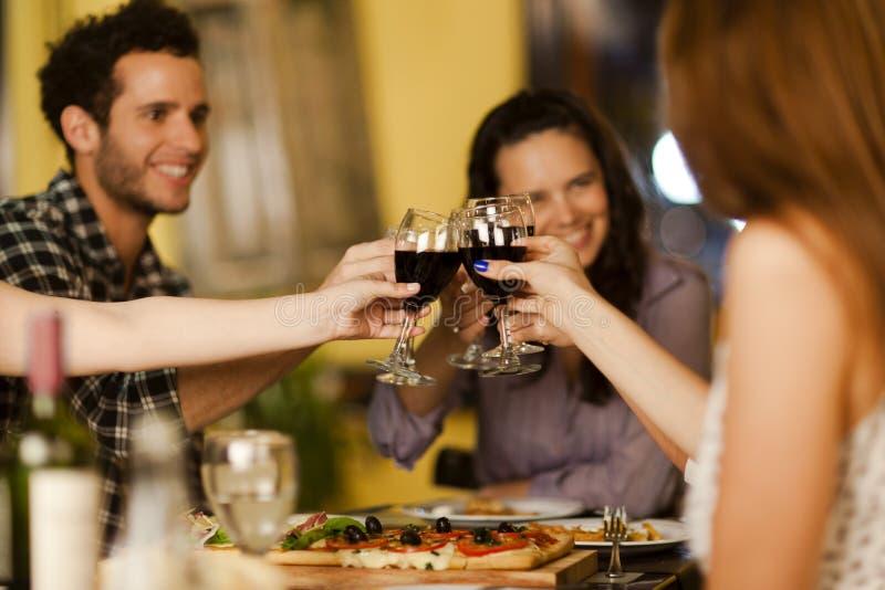 Groupe d'amis grillant avec du vin image libre de droits
