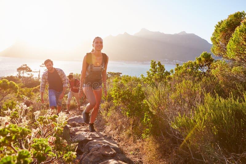 Groupe d'amis marchant le long du chemin côtier ensemble images libres de droits