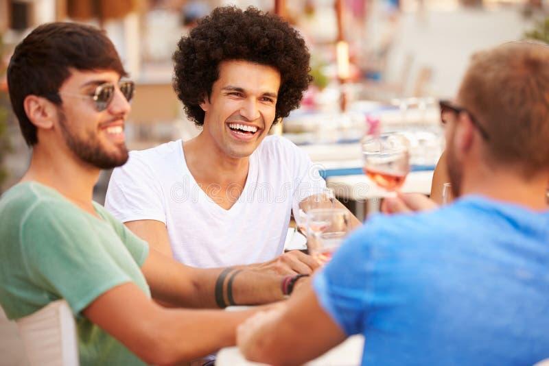 Groupe d'amis masculins appréciant le repas dans le restaurant extérieur image libre de droits