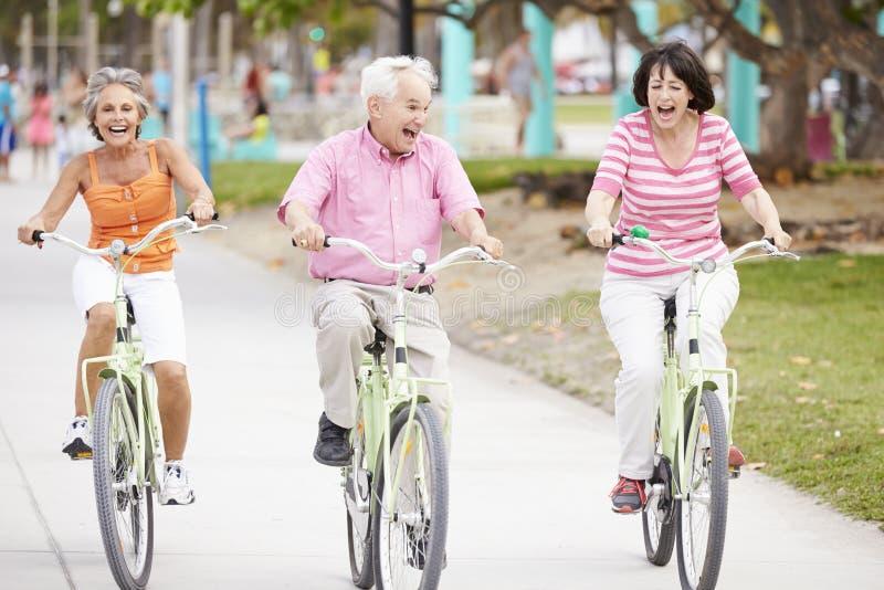 Groupe d'amis supérieurs ayant l'amusement sur le tour de bicyclette photos stock