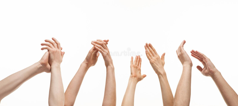 Groupe d'applaudissements de mains photographie stock libre de droits