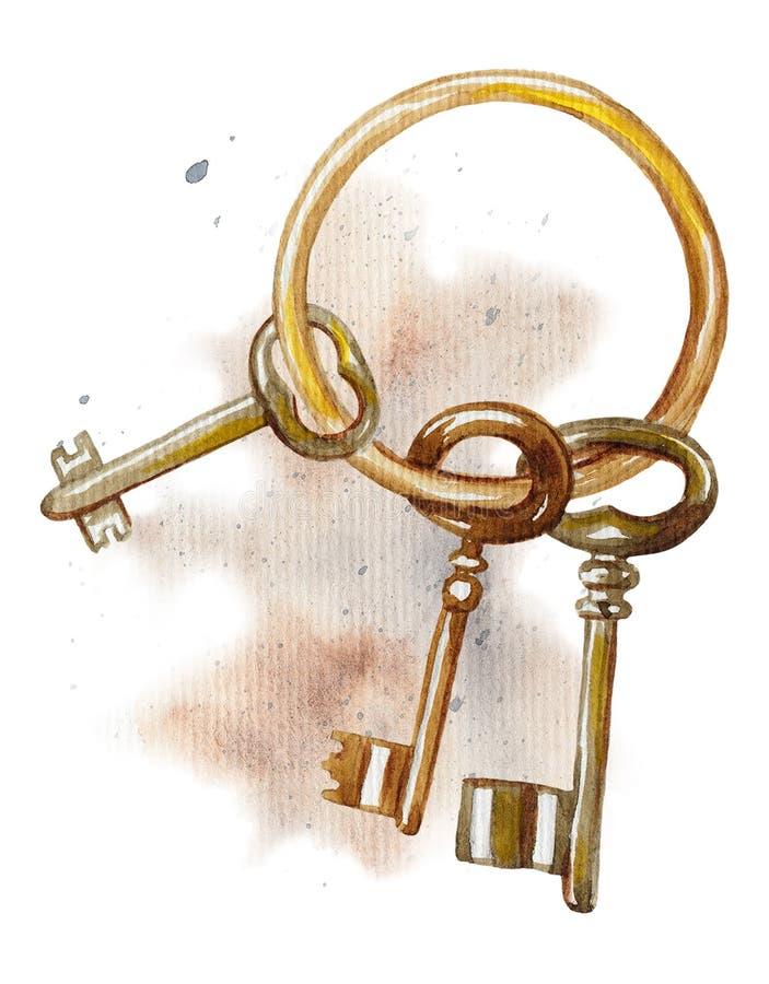 Groupe d'aquarelle de clés illustration libre de droits