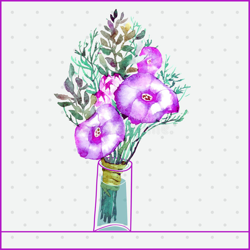 Groupe d'aquarelle de fleurs de peinture dans un verre illustration de vecteur