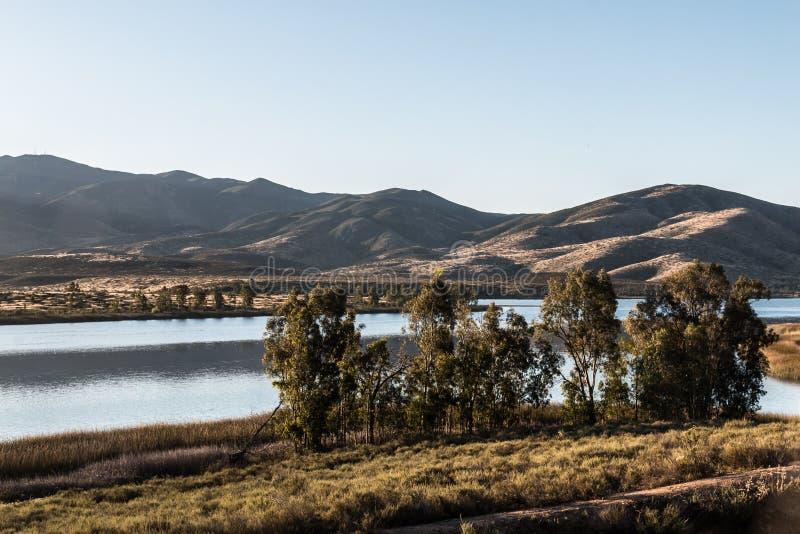 Groupe d'arbres avec le lac et la montagne à Chula Vista photo libre de droits