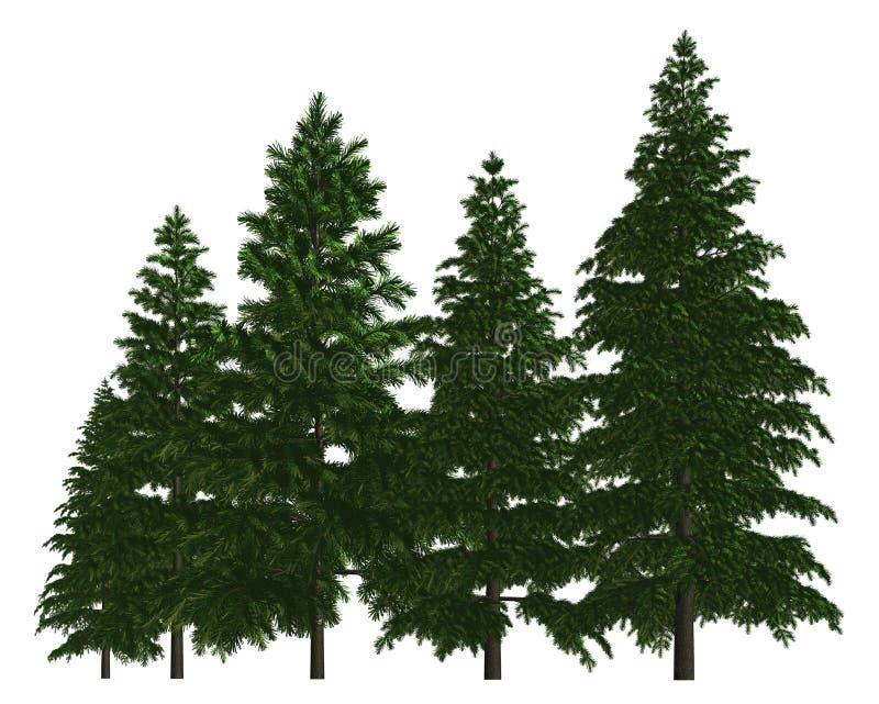 Groupe d'arbres d'isolement sur l'illustration 3d blanche illustration stock