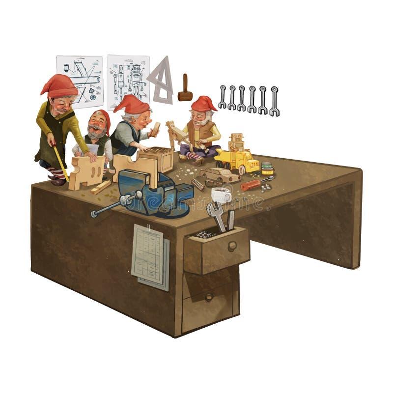 Groupe d'elfes travaillant dans l'atelier d'une Santa illustration stock