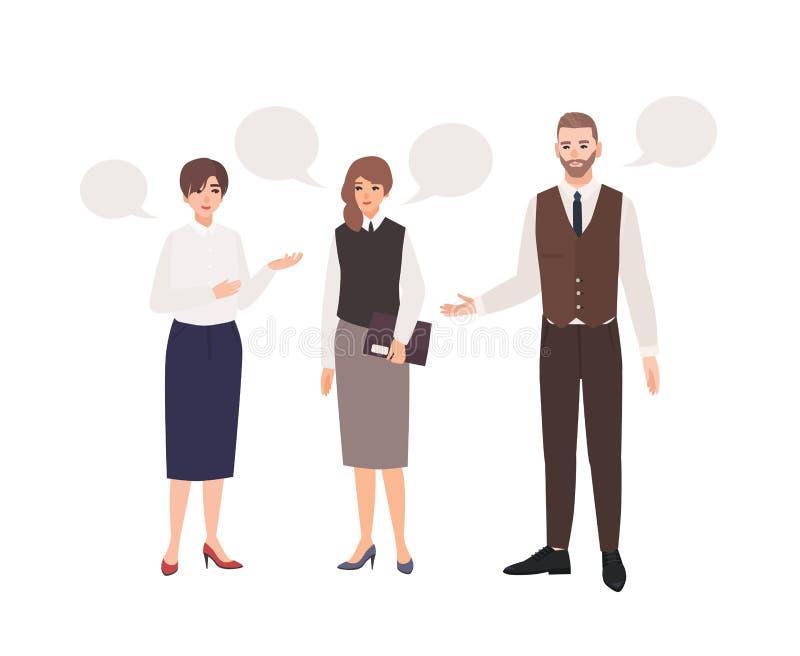 Groupe d'employés de bureau ou de collègues parlant entre eux et de bulles de la parole Dialogue entre les commis professionnel illustration stock