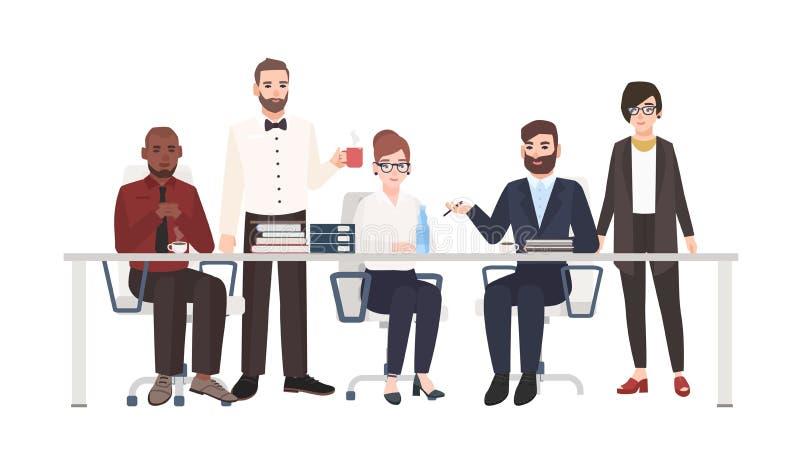 Groupe d'employés de bureau s'asseyant au bureau et à parler Mâle et commis féminins participant à la discussion d'affaires, trav illustration de vecteur