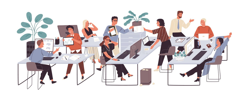 Groupe d'employés de bureau s'asseyant aux bureaux et communiquant ou parlant entre eux Dialogues ou conversations entre illustration stock