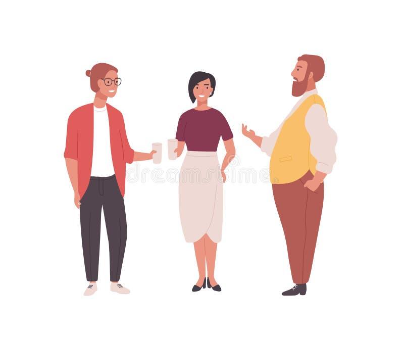 Groupe d'employés, de commis ou d'employés de bureau Hommes drôles et femmes se tenant ensemble et parlant professionnel illustration libre de droits