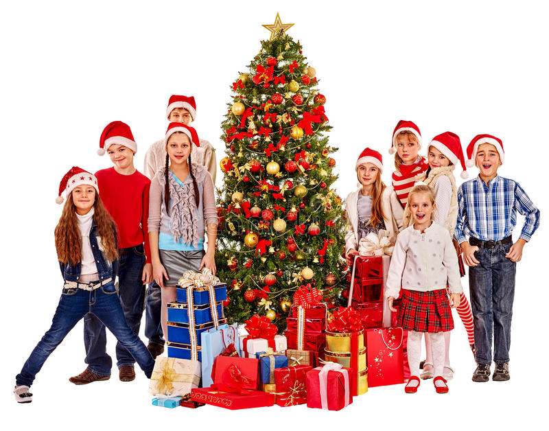 Groupe d'enfants avec le père noël images libres de droits