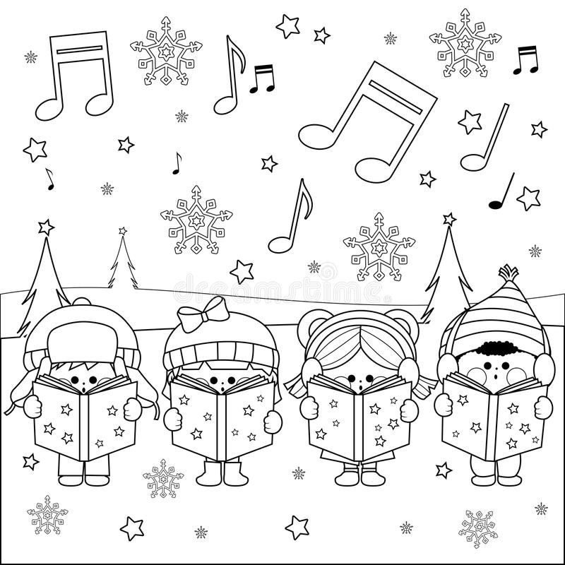 Groupe d'enfants chantant des chants de Noël illustration de vecteur