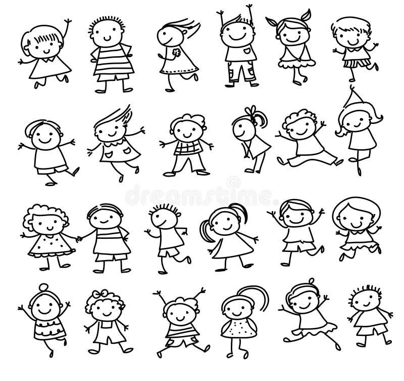 Groupe d 39 enfants croquis de dessin illustration de vecteur image 63859062 - Dessin groupe d enfants ...
