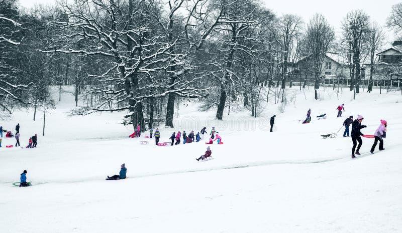 Groupe d'enfants et d'adulte jouant sur la neige dans l'horaire d'hiver photographie stock libre de droits
