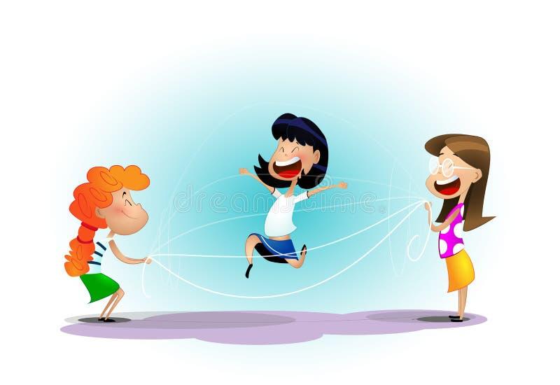 Groupe d'enfants gais heureux ayant l'amusement illustration stock