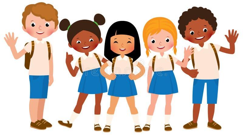 Groupe d'enfants heureux dans l'uniforme scolaire illustration de vecteur