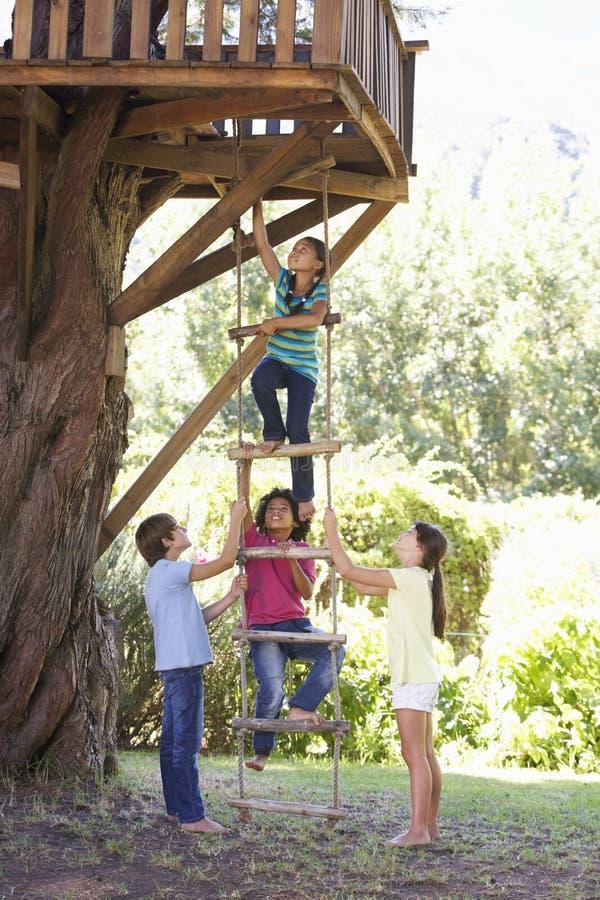 Groupe d'enfants montant l'échelle de corde à la cabane dans un arbre photos libres de droits