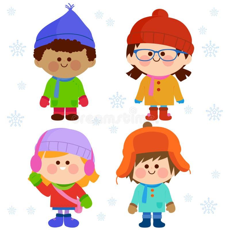 Groupe d'enfants portant les vêtements chauds d'hiver illustration libre de droits