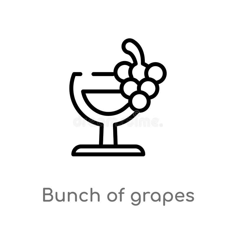 groupe d'ensemble d'icône de vecteur de raisins ligne simple noire d'isolement illustration d'?l?ment de concept de boissons Cour illustration libre de droits