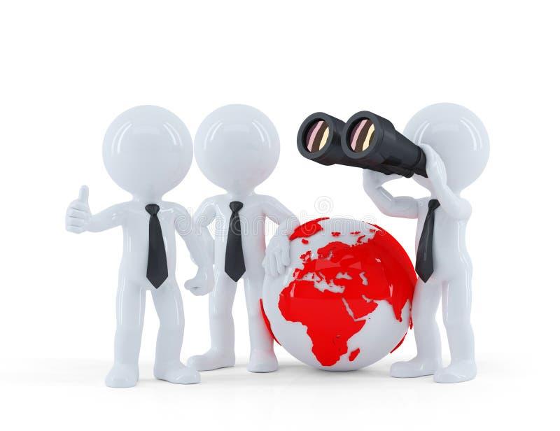 Groupe d'hommes d'affaires avec le globe et les jumelles. illustration de vecteur