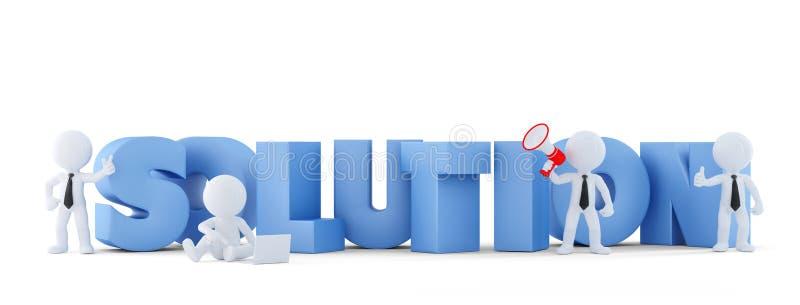 Groupe d'hommes d'affaires avec le signe de SOLUTION Concept d'affaires Contient le chemin de coupure illustration stock