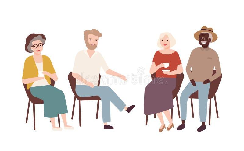Groupe d'hommes pluss âgé et de femmes s'asseyant sur les chaises, le thé potable, parler entre eux et rire Vieilles personnes re illustration de vecteur